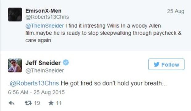 Его уволили можешь дышать спокойно прокомментировал Шнайдер один из постов в Twitter Скриншот Twitter