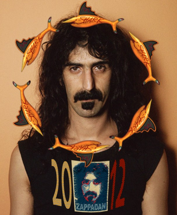 Frank Zappa with Floating Mud Shark Wreath; Flotation Device Not Included