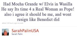 Palin's Pope Tweet