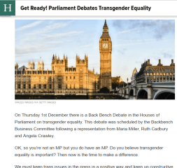 Huffington Post Blog: Get Ready! Parliament Debates Transgender Equality