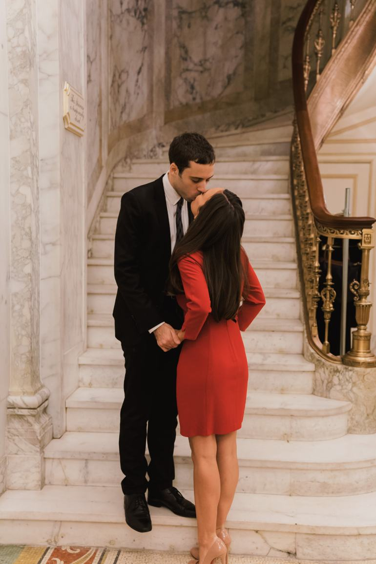 Our winter engagement shoot at the Plaza Hotel with photographer Susan Shek