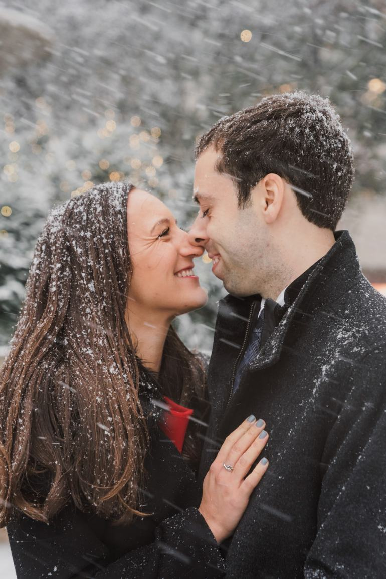 Romantic Engagement Shoot outside of New York City the Plaza Hotel and on Fifth Avenue in the snow