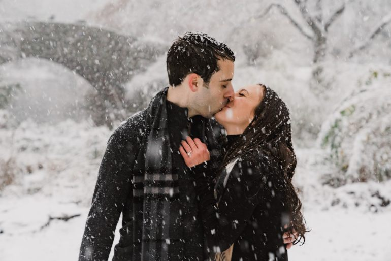 Burberry scarves in the engagement shoot of Leah Gervais and Adam Pascarella