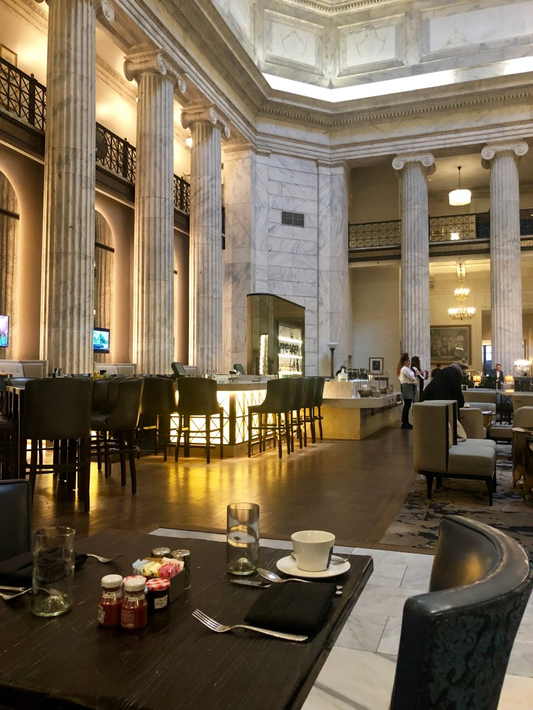 The beautiful and historic lobby of the Ritz-Carlton, Philadelphia