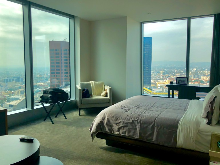 I had an oversized room on the corner with a view of all of Los Angeles at the InterContinental Los Angeles Downtown.