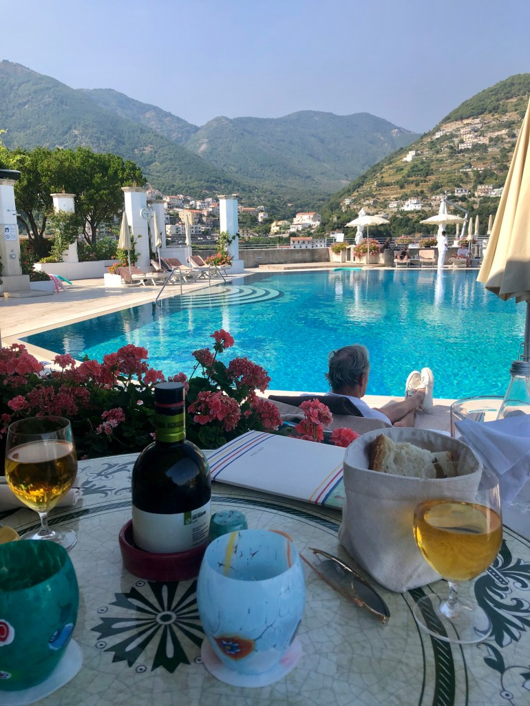 Restaurant pool view at the Belmond Hotel Caruso