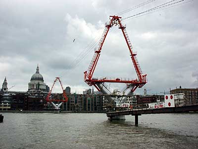 One of the tapering elliptical piers under construction, Millennium Bridge, London