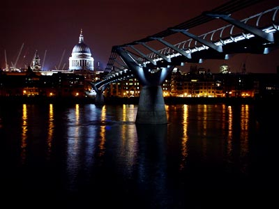 Millennium Bridge at night, looking at St Pauls from the south bank, London 2003