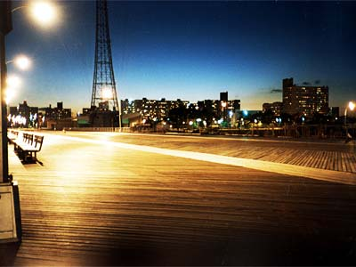 Coney Island Boardwalk at night