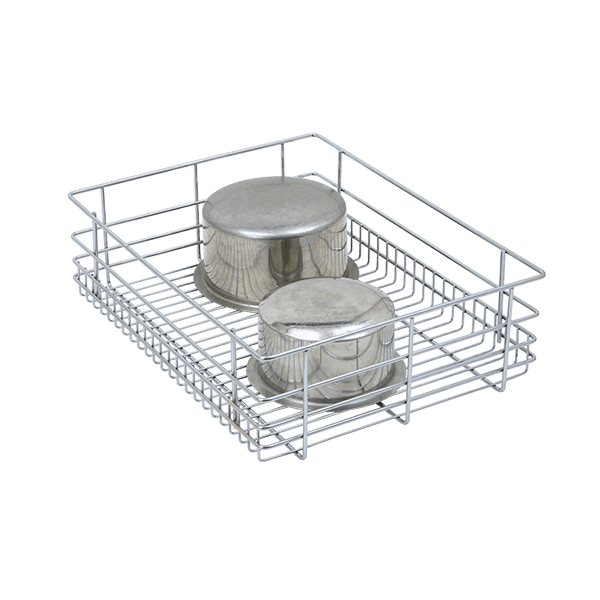 PLAIN DRAWER BASKET (4″ HEIGHT X 17″ WIDTH X 20″ DEPTH) 6MM WIRE STAINLESS STEEL