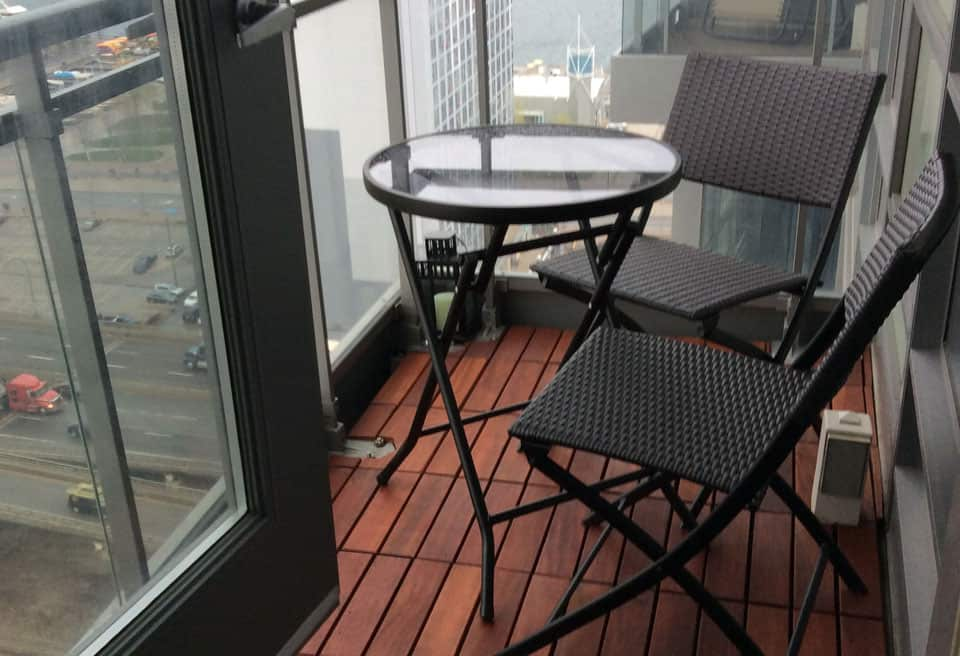 1 by 1 foot exotic wood deck tiles, with views of lake Ontario