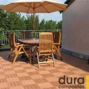 dura composite decking tiles installed on a patio
