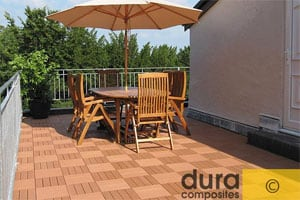 dura composite decking tiles installed on a balcony