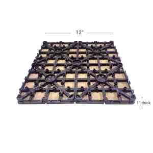 Teak Dura composite back shot showing deck tile dimensions