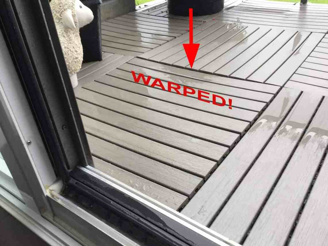 Warped 1x2-foot deck tiles