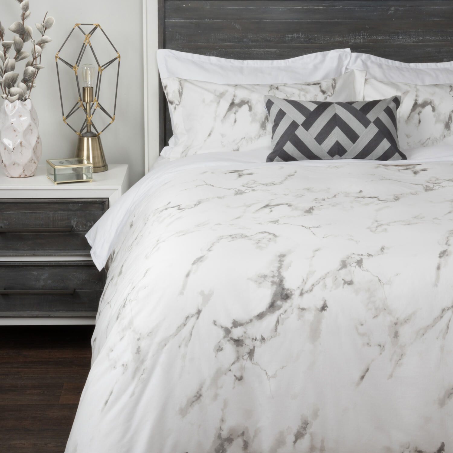 Carrara Duvet Set WhiteGrey
