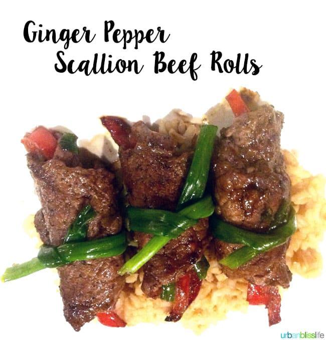 Ginger Pepper Beef Scallion Rolls recipe on UrbanBlissLife.com