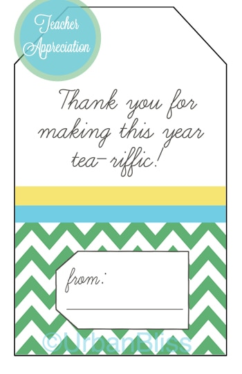 Teacher Appreciation Week Printable 5 of 5: Tea Gift Tags