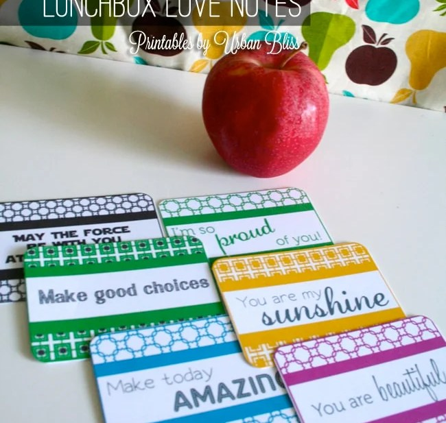 Lunchbox Love Notes Printable by Urban Bliss