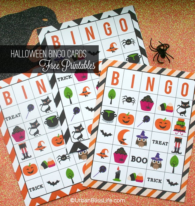 Halloween Bingo Card Printables and Candy Bar Wrapper printables
