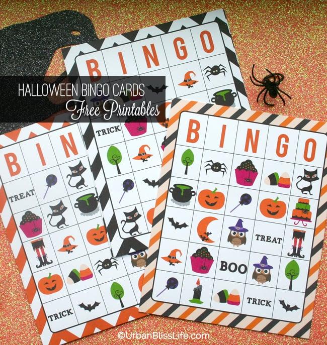 Halloween Bingo Card Printables and Candy Bar Wrapper printables