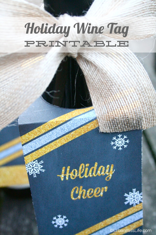 Holiday Wine Tag Printable