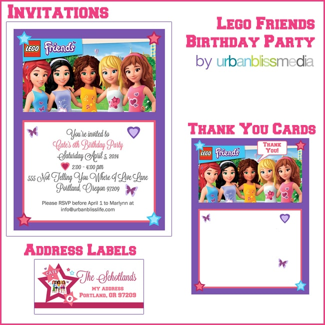 party bliss lego friends birthday
