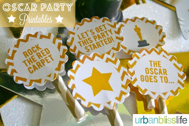 Academy Awards Party Cupcake Toppers Gift Tag Printables