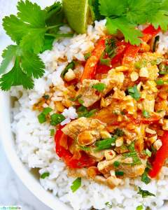 close up of thai peanut curry recipe