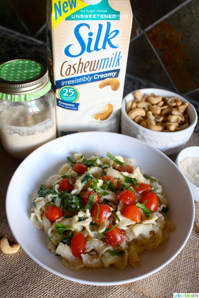 Silk Cashew Milk Spinach Alfredo Recipe   UrbanBlissLife.com