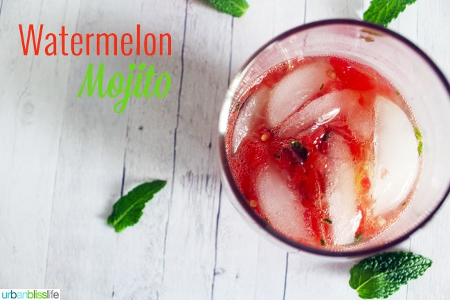 Watermelon Mojito cocktail recipe on UrbanBlissLife.com