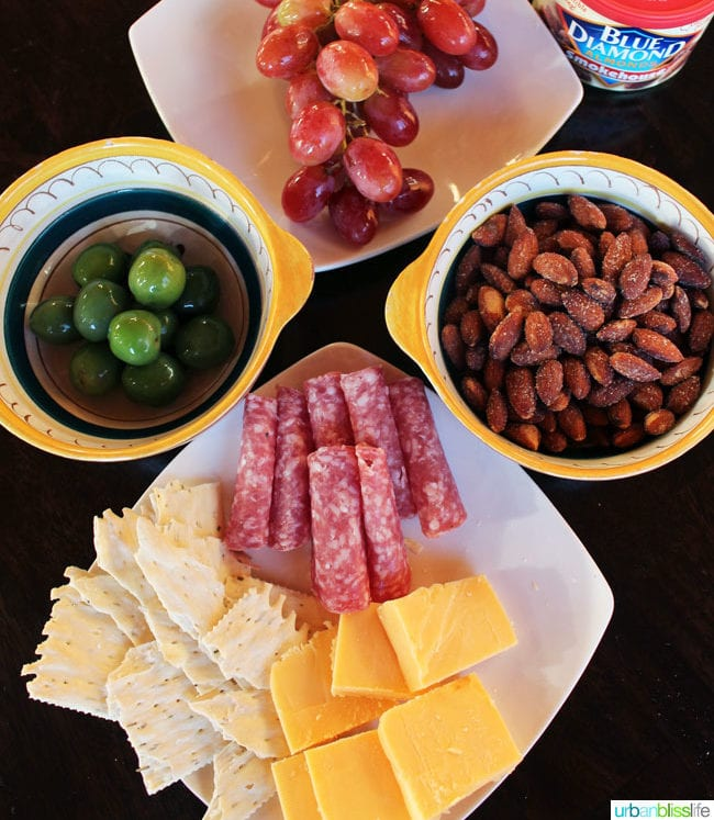 cheese and meat and nut tray on UrbanBlissLife.com