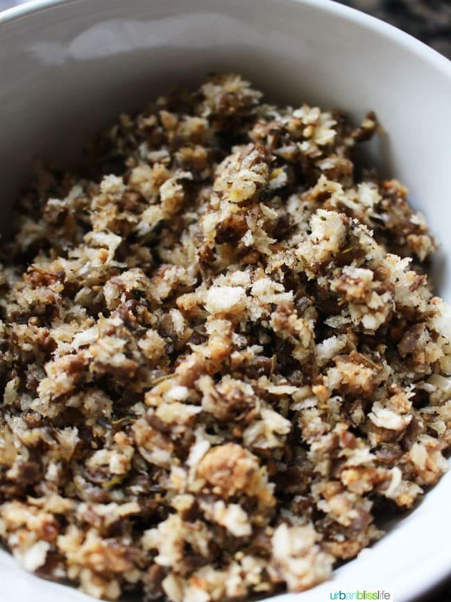 Herb & Almond Stuffed Mushrooms recipe on UrbanBlissLife.com
