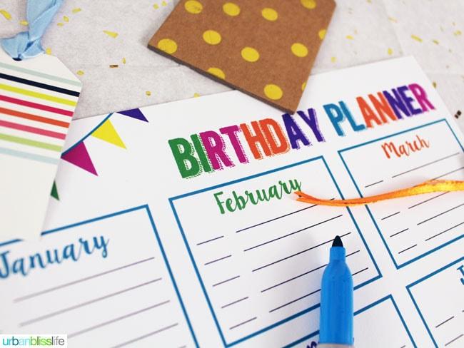 Birthday Planner Printable by UrbanBlissLife.com