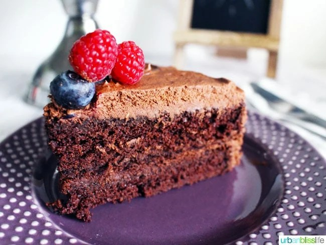 Amazing Vegan Chocolate Cake recipe on UrbanBlissLife.com