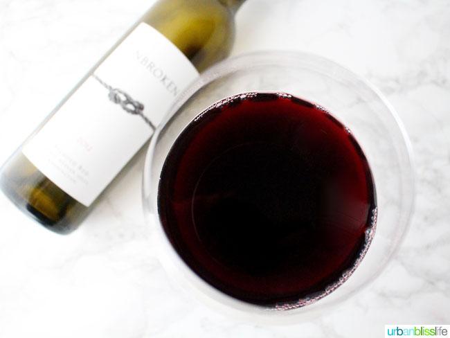 Unbroken red wine