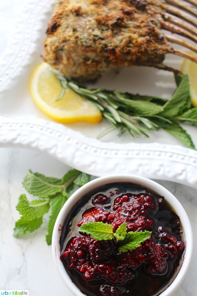 Herb-Crusted Rack of Lamb with Blackberry Balsamic Sauce