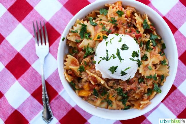Taco Pasta recipe on UrbanBlissLife.com