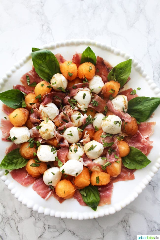Summer Melon Caprese Salad is perfect for barbecues and picnics! Recipe on UrbanBlissLife.com