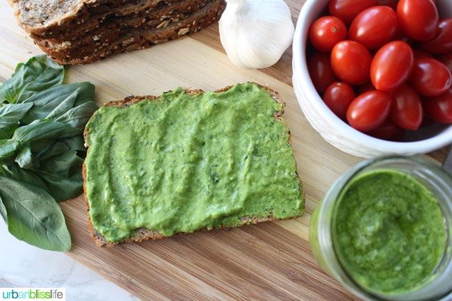A fast, easy, delicious creamy avocado pesto recipe from UrbanBlissLife.com