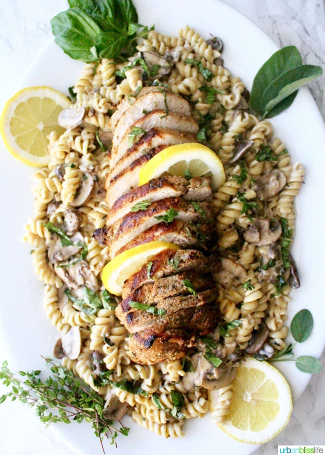 Pork and Pasta with Mushroom Herb Sauce, Dairy-Free - recipe on UrbanBlissLife.com