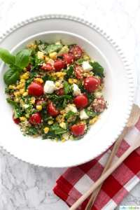 Summer Corn Quinoa Caprese Salad recipe on UrbanBlissLife.com