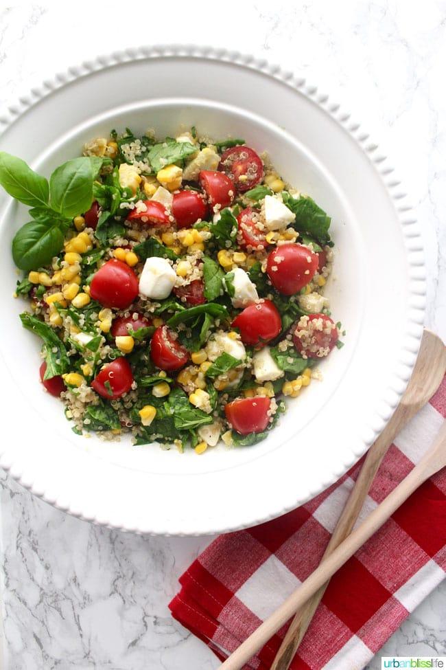Summer Corn Quinoa Caprese Salad recipe on UrbanBlissLife.com