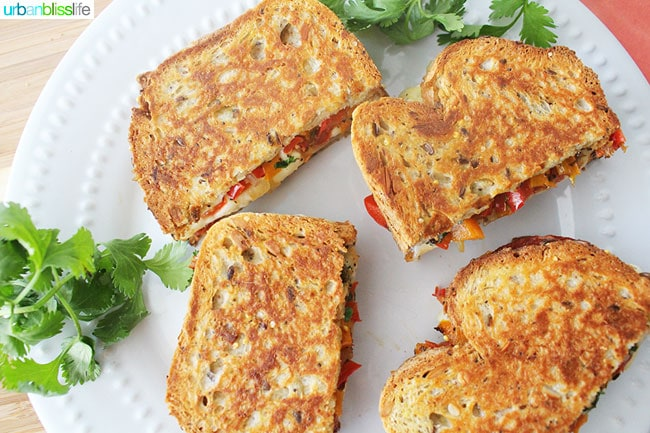Chorizo Queso Peppers Panini are hearty, delicious sandwiches perfect for lunch, dinner, or to make to feed a crowd for tailgating, holiday parties, and more! Recipe on UrbanBlissLife.com