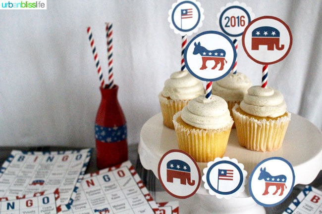 Throwing an Election Day party? These Election Day Printables include Election Day Bingo and Bi-Partisan Party Circles. Download these printables for free at http://UrbanBlissLife.com!