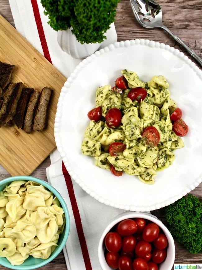 Easy and Delicious Steak and Pesto Tortellini recipe on UrbanBlissLife.com