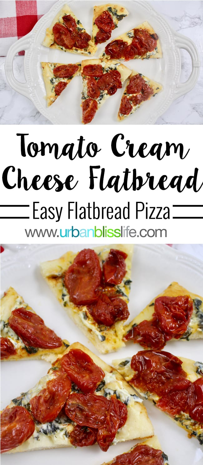 Tomato Cream Cheese Flatbread Pizza recipe on UrbanBlissLife.com