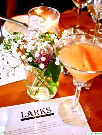 Larks Restaurant cocktail. Restaurant review on UrbanBlissLife.com
