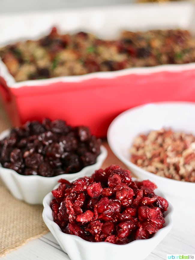 Dried cranberries and cherries. Wild Rice Dressing with Cranberries, Cherries, and Pecans. Recipe on UrbanBlissLife.com