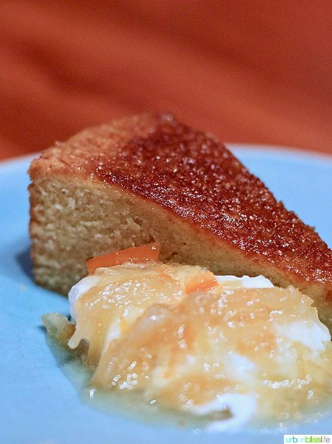 semolina olive oil cake at Ray restaurant, Israeli cuisine in Portland, Oregon. Restaurant review on UrbanBlissLife.com